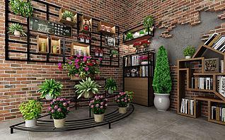 植物盆栽铁艺花架墙饰壁饰3d模型