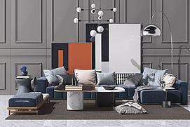 现代北欧沙发茶几吊灯组合模型