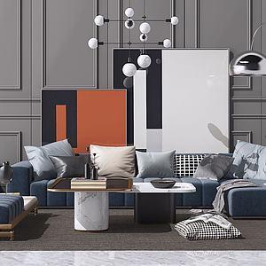3d现代北欧沙发茶几吊灯组合模型