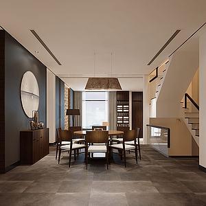 金色吊灯电梯楼梯中式餐桌模型