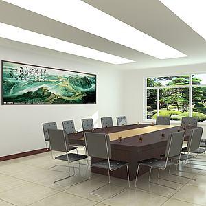 中式长城壁画会议室模型
