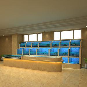 多层海鲜池鱼缸模型
