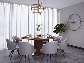 新中式圆形餐桌椅圆型挂表模型