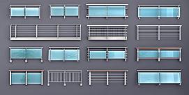 玻璃栏杆护栏扶手模型