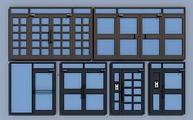 现代双开门子母门单元门模型
