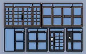 现代双开门子母门单元门3d模型