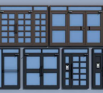 现代双开门子母门单元门