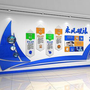 乘风破浪企业文化墙背景墙模型