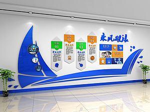 乘风破浪企业文化墙背景墙3d模型