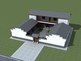 中式建筑四合院模型