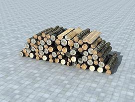 堆积的木头柴火模型