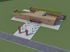 中式建筑博物馆模型
