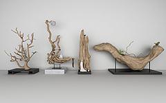 新中式木雕树根根雕模型3d模型
