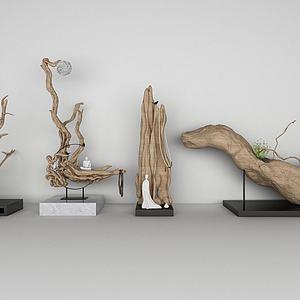 新中式木雕树根根雕模型