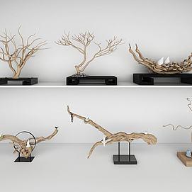 木雕树根根雕样品展示模型