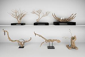 3d木雕树根根雕样品展示模型