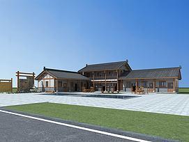 中式建筑庭院院落模型