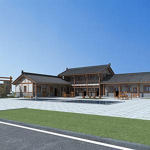 中式建筑庭院院落模型3d模型