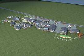 现代小镇简约风格建筑模型