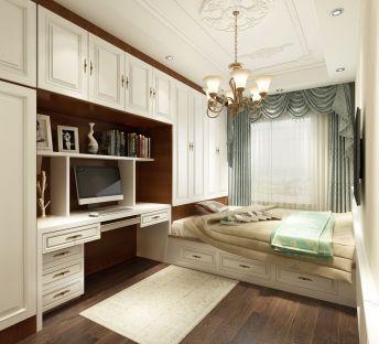 欧式榻榻米卧室书架衣柜