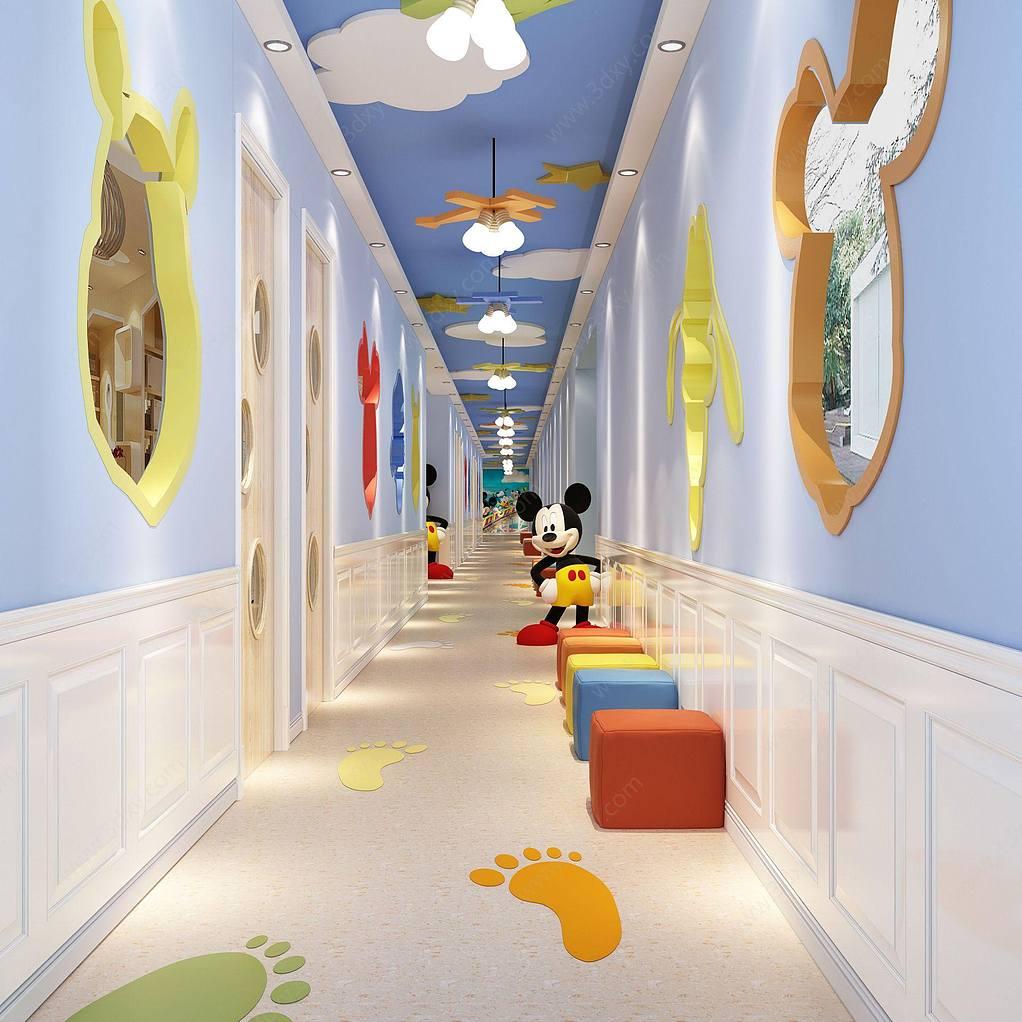 米奇創意主題幼兒園走廊
