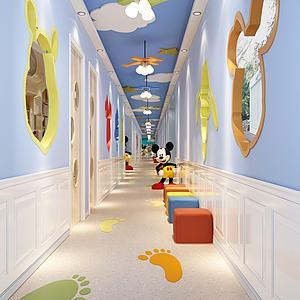 3d米奇创意主题幼儿园走廊模型