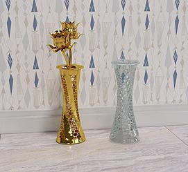 金色花瓶摆件透明镂空花瓶模型