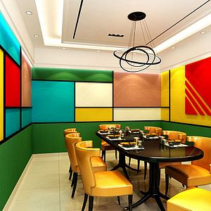 現代餐廳包間彩色方格墻面3d模型