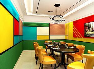 现代餐厅包间彩色方格墙面3d模型