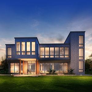 中式別墅獨立庭院模型3d模型