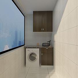 洗衣机柜创意角落空间模型