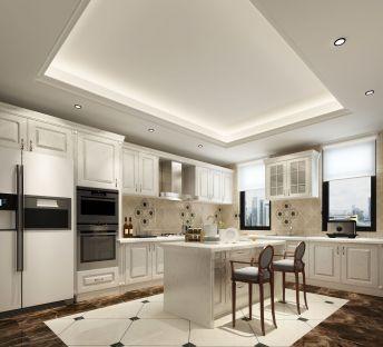 欧式白色餐厅厨房吧台厨柜