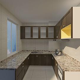 中式大理石台面木色厨柜模型