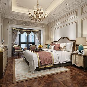 現代歐式臥室模型3d模型