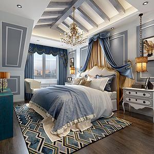 歐式臥室灰藍色調模型3d模型