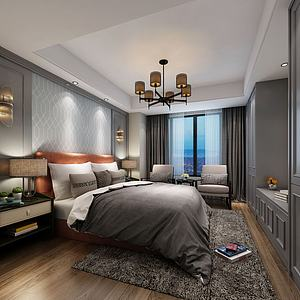 中式复古感主题卧室模型3d模型