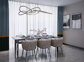北欧餐桌椅灯装饰?#19968;?#32452;合模型