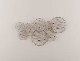 新中式重叠圆形墙饰挂件模型