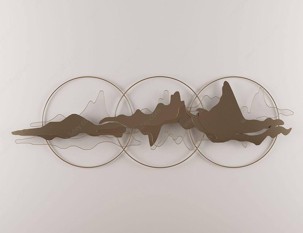 新中式墻飾掛件圓環云彩