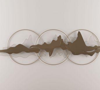 新中式墙饰挂件圆环云彩