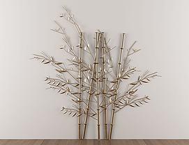 新中式金属竹子墙饰挂件模型
