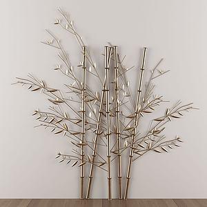 新中式金屬竹子墻飾掛件模型3d模型