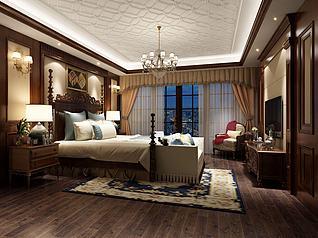 中式复古床柜卧室3d模型