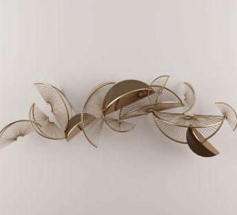 新中式金属扇形墙饰挂件