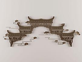新中式金属镂空墙饰挂件模型