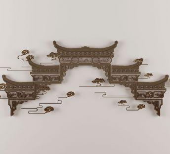 新中式金属镂空墙饰挂件