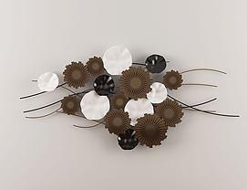 新中式黑白棕花型墙饰挂件模型