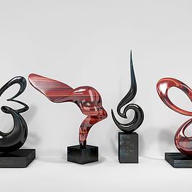 现代雕塑四组摆件模型
