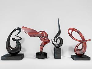 3d现代<font class='myIsRed'>雕塑</font>四组摆件模型