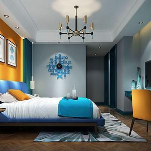 3d海洋蓝挂表主题现代卧室模型